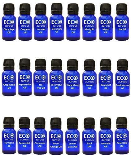 Organic Aromatherapy Essential Oils Set(24X10ml(0.33 oz Each) Pure & Natural - Turmeric, Rose Otto, Spearmint, Sweet Orange, Tea Tree, Lemongrass, Bergamot, Lavender & Geranium Oil
