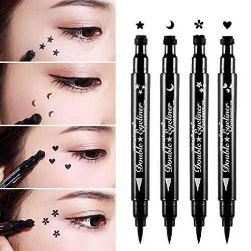 Pinkiou Eyeliner Pencil Pen mit Augen Make-up Stempel Wasserdicht Doppelseitig Langlebig Seal Eyeliner (4 in 1)
