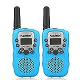 FLOUREON Talkie Walkies Paire Enfant Radios bidirectionnelles 8 canaux 3000M (Max 5000M extérieur) UHF Longue portée Portable Walkies Talkie (Bleu)