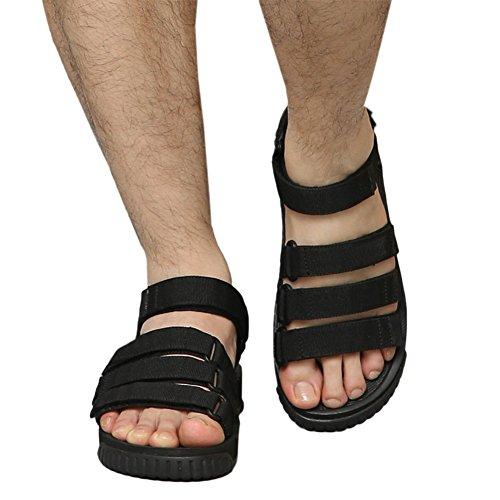 Haodasi Unisex Strap Einstellbar Sandalen Leder Strandschuhe Rutschfest Weich Hausschuhe Sport Schwarz
