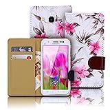 Urcover Wallet Compatible avec Samsung Galaxy S6 Edge Plus Housse Portefeuille Fleurs Dessins in Blanc Étui Protection Coquille Magnetique Cartes Cover Pochette Femme