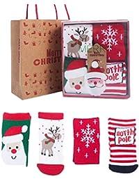 Mxssi 4Pair/Lot Set Regalo Navidad Año Nuevo Espesar Algodón Calcetines Cálidos para Niños Bebé Invierno Niños Infantiles Niños Niñas Calcetines Niños