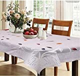 #2: Kuber Industries™ Designer Dining Table Cover Cream Cloth Net For 6 Seater 60*90 Inches (Exclusive leaf Design) Code-VA5815