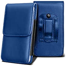SHARP AQUOS CRYSTAL Holster Case - ( Blue ) Universal Vertical Pouch Flip Belt Clip PU Leather Wallet Case Bag ( SHARP AQUOS Funda Crystal Case - ( azul ) Universal funda Vertical Flip Clip de cinturón de cuero pu Bolsa funda monedero  )