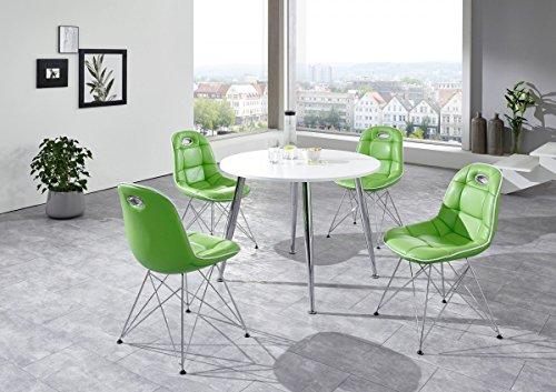 Dreams4Home Tischgruppe 'Liu I' - Set, Essgruppe, Tischgruppe, Sitzgruppe, 4 Stühle, Maße je Stuhl: H/T/B: 46 x 42 x 44 cm, Esstisch rund 100 cm, modern, Küche, Esszimmer, Küchenmöbel, Esszimmermöbel, Diner Stil, weiß / grün - 42 Runde Esstisch