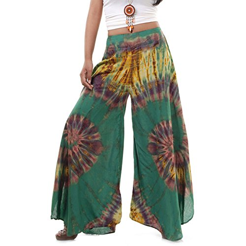 Princess of Asia Extrem Weite Damen Hippie Ethno Goa Thai Hose Schlaghose 36 38 40 S M (Grün) (Goa Karneval Kostüm)