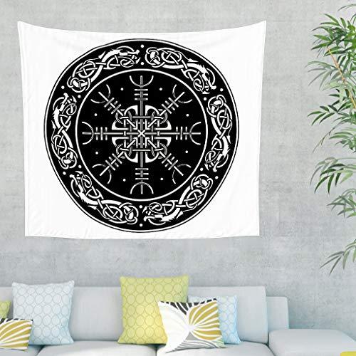 Cartel vikingo negro y blanco, runas escandinavas, tapiz de pared celta, nudo de lobo, tapiz de pared, mural nórdico, decoración de pared 200x150cm blanco