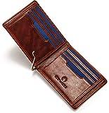 ECHTHIRSCH Geldbeutel Geld-Börse Portemonee Karten-Etui Kredit-Karten Money-Clip RFID-Schutz Slim Canvas Leder-Hülle - Entrepreneur-Cognac Blue