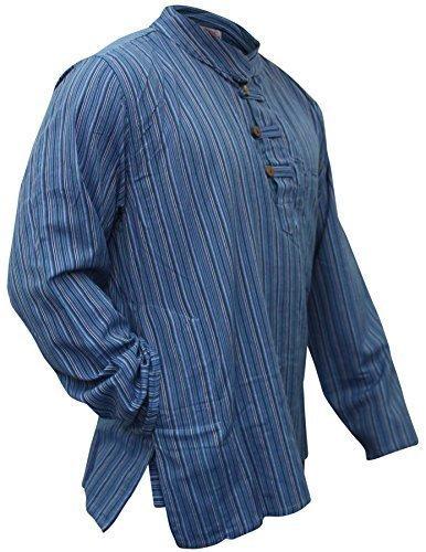 Multi Farben Mix dharke Streifen leicht bequem langärmlig traditionell Großvater Shirt, Hippy Boho , S M L XL XXL XXXL - N. blau, Medium (Herren-multi-streifen-shirt)