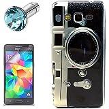 Lusee® la caja silicone de TPU del gel para Samsung Galaxy Grand Prime SM-G530FZ Funda Cáscara La caja posterior a parachoques La caja posterior de cubierto + el protector de la pantalla gratuido,el enchufe de polvo prueba lente de la cámara negro