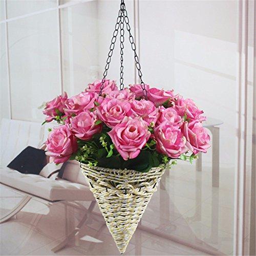 Fiore Di Emulazione Fiori Artificiali 21 Rose Cesto Fiorito Kit Parete Rose Fiore Home Decor Flower C