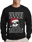 Green Turtle T-Shirts Slothy Christmas Faultier mit Nikolausmütze Herren Weihnachtpullover Sweatshirt XX-Large Schwarz