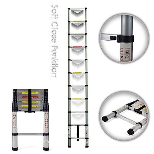 MAXCRAFT 3,20 m Teleskopleiter Aluleiter Soft Close Stehleiter Sprossenleiter ausziehbare Leiter Ausziehleiter Anlegeleiter Mehrzweckleiter EN-131 geprüft