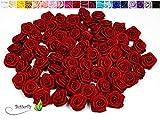 100 Stk. Satinrosen 1,5cm // Rosen 15mm Stoffrosen Satin Satinröschen Rosenköpfen deko Basteln Tischdeko Dekoration Streudeko Hochzeit Taufe Kommunion Blumen Applikationen, Farbe: rot 250