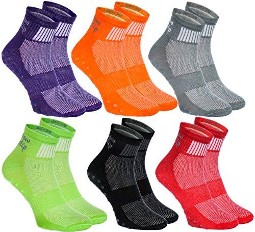 6 paires de Chaussettes Colorées Antidérapantes ABS idéal pour les sports: Yoga, Fitness,Pilates, Arts martiaux, Danse,Gymnastique,Trampoline Tailles 42-44, le Coton Respirant, Confort pour les pieds