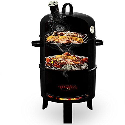 Deuba | Barbecue « Smoker » • 3 en 1 • grill, barbecue, fumoir • thermomètre inclus • 75x40 cm | BBQ, grillades