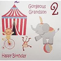 WHITE COTTON CARDS Gorgeous Grandson 2 Happy, Handmade Age 2 Birthday Card (Circus)