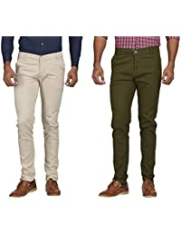 Kushsection Off-White Trousers & Green Trousers Cotton Trousers Combo Solid Trousers F10S14 (Pack Of 2 Casual...