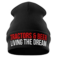 Purple Print House Farming Gifts - Tractors and Beer Living The Dream Funny Beanie Hat - Tractor Gifts Farmers Gifts