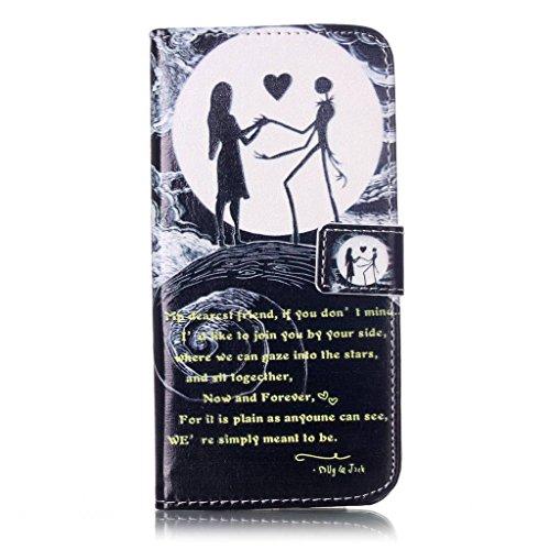 Uming® Il modello della stampa della custodia per armi variopinta della copertura Holster Cover Case ( Black lips - per IPhone 7 7G IPhone7G IPhone7 ) Flip-artificiale in pelle con staffa supporto del Moon Couple
