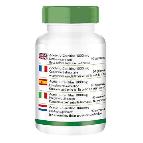 Acetyl-L-Carnitin 1000mg – GROSSPACKUNG für 3 Monate – VEGAN – HOCHDOSIERT – 90 Kapseln – ALC
