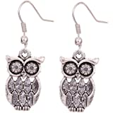 Amybria Jewelry Tibetan Silver Antique Owl Hook Dangle Earrings for Women