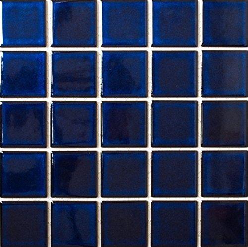 Mosaik-Netzwerk Mosaikfliese Quadrat uni kobaltblau glänzend Keramikfliese, Mosaikstein Format: 58x58 mm, Bogengröße: 304x304 mm, 10 Bögen