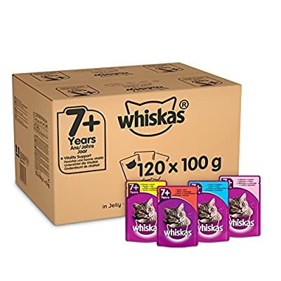 Whiskas 7+ Wet Cat Food for Senior Cats Mixed Selection in Jelly