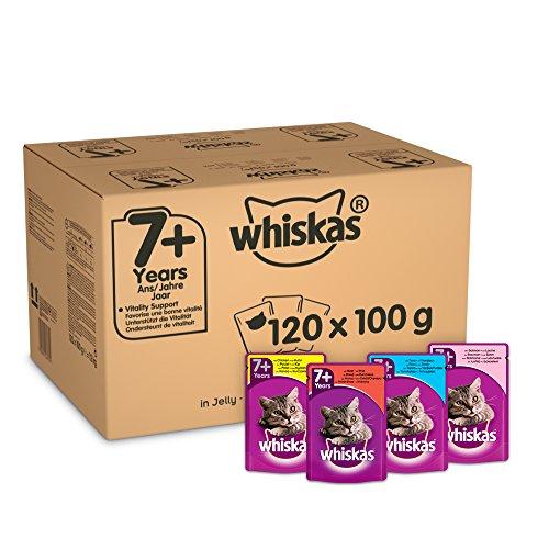 Whiskas 7+ Mélange sélectif de sachets en gelée pour chat 100 g, lot de 120