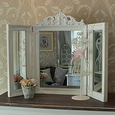 White Ornate Dressing Table Triple Mirror - cheap UK light store.