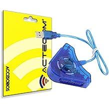ACTECOM® Adaptador Conversor de Mando PS1 PS2 PSX para PC PS3 Conector Doble