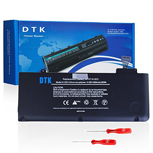 Dtk® Batería de repuesto para portátil for APPLE A1322 A1278 (Mid 2009, Early 2010, Early / Late 2011, Mid 2012) Unibody MacBook Pro 13'', fits MB990*/A MB990LL/A MB990J/A+Two Free Screwdrivers [Li-Polymer 6-cell 5000mAh/55Wh]