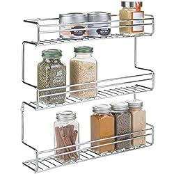 mDesign étagère épices - range épices pratique en acier inoxydable - porte épices avec trois niveaux pour épices, thés, etc. - en acier inoxydable chromé