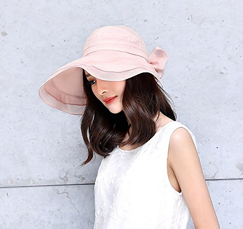 HWTYM Sun Hat Summer Women's Beach Voyage Large Wide Brim Protection UV Outdoor Sun Hat Mode Sun Hat Chaussures de randonnée Sun Hat ( Couleur : Gray-1* ) Pink-1*