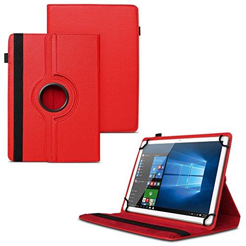 UC-Express NAUCI Odys Cosmo Win X9 Odys Winpad X9 Tablet Universal Schutzhülle aus Kunstleder Hülle Tasche Standfunktion 360° Drehbar Cover Case, Farben:Rot