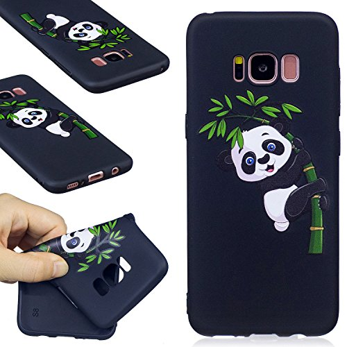 FIREFlSH Galaxy S8 Fall, Firefish Soft Touch Slim Fit Flexible TPU Fall geprägt Druck Stoßdämpfung Bumper [Keine Rutschfest] Rückseite für Samsung Galaxy S8, Panda-B, Samsung Galaxy S8