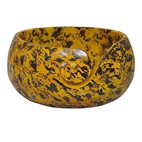 KITCHEN SUPPLIER - Cuenco de Lana Pintado a Mano Fabricado por Artesanos Indios, Color Amarillo y Negro