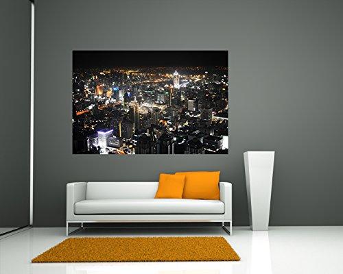 Selbstklebende Fototapete - Bangkok Skyline bei Nacht - 135x90 cm - Wandtapete – Poster – Dekoration – Wandbild – Wandposter - Bild – Wandbilder - Wanddeko