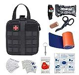 BUSIO Kit Premier Secours,Sac d'urgence Molle Tactique,Garrot Tourniquet,Ciseaux Médical,Pansement Israelien,Couverture de Survie,Masque CPR,Attelle,Sifflet