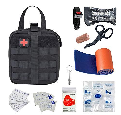 BUSIO Botiquín Primeros Auxilios,Kit Supervivencia Emergencia-Bolsa MOLLE Tactico,Torniquete,Tijera Enfermeria,Vendaje Israeli,Manta Termica,CPR Mask,Splint …