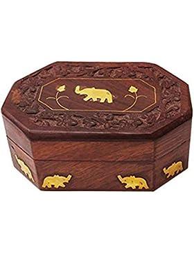 Danksagungsgeschenke Für deine Geliebten Hölzerner Weinlese-Kasten, Oktal-Form Einzelner Elefant 6X4in Kasten,...