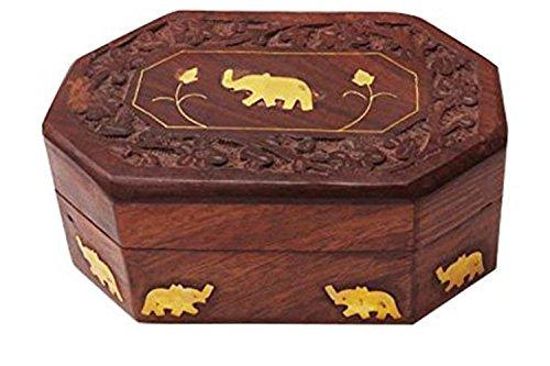 IndiaBigShop Boîte en Bois Vintage, Forme octale Unique éléphant 6X4 dans la boîte, Jour de Pâques/fête des mères/Cadeau de Vendredi Bon