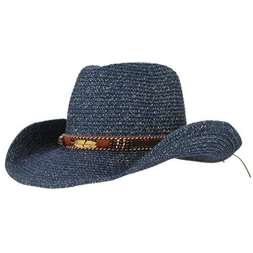 DEMU Unisex Cowboy Stroh Hüte Formbare Krempe Cowboyhut Strohhut Sonnenhut (Blau)