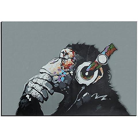 Raybre Art® 60 x 90 cm 100% Dipinte a Mano Pitture a olio su Tela - Quadri Astratti Grandi Animali - Scimmia Orangutan Goditi la musica con le cuffie - Casa Art Decorazione, Senza cornice