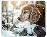 Naturkautschuk-Gaming-Mauspad mit Haustier Snow Winter Cocker Spaniel Hund - genähte Kanten