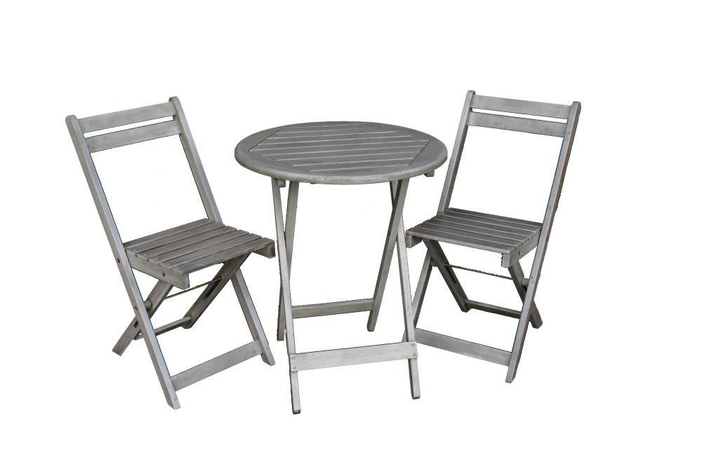 Bistrotisch Mit Stühlen Outdoor.Balkon Möbel Set Bistrotisch Mit 2 Stühlen Balkonmöbel Tisch Und Stühle Klappbar Grau Matt 100 Fsc Akazie Witterungsbeständiges Hartholz