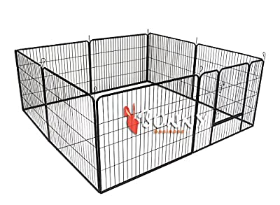 Bunny Business Heavy Duty Puppy Play Pen/ Rabbit Enclosure, 8-Panel, Gunmetal Grey