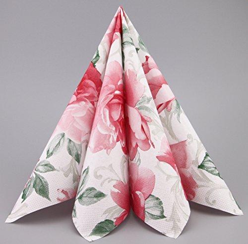 100 Stück (0,20€/Stück) Servietten English Rose in Rosa/Grün Papierservietten 40 x 40 cm Gemustert Tissue Papier 3-lagig Tischdeko Hochzeit Dekoration Mundservietten zum Falten von FINEMARK -