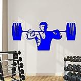 Ajcwhml Gewichtheben männer Kunst Wandtattoo Fitness Zug Kunst Gym Wandaufkleber Vinyl Sport Wandmalerei Schlafzimmer Dekor 59x25 cm