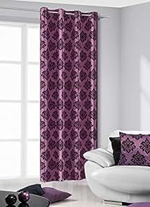 140x245 cm violett schwarz Vorhang Vorhänge Fensterdekoration Gardine Ösenschal Blickdicht Blumenmotiv violet purple black TOM